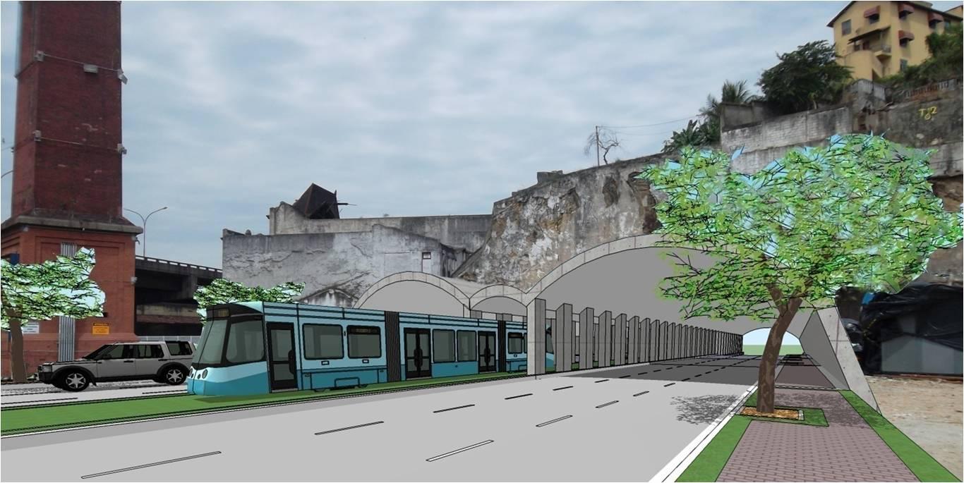 Perspectiva de como ficará o Túnel da Saúde, com três pistas de um lado e três do outro, com o VLT passando pelo meio