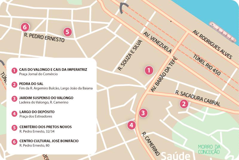 mapa de valongo porto Circuito Histórico e Arqueológico da Celebração da Herança  mapa de valongo porto